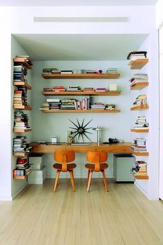 Rustic built-in shelving for #homeoffice space