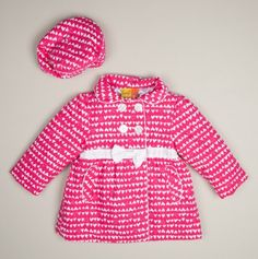 Infant Hearts Cord Double Breasted Coat and Beret - Baby Girl Penelope Mack & Rothschild Coats - Events