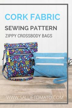 New Cork Fabric Crossbody Bag Sewing Pattern!  These pretty and practical zippy crossbody bags can be made in two sizes!  Features three exterior zipper pockets and two inside pockets to easily organize your items. Add tassels, rivets, and metal strap connectors if desired.  The perfect size for traveling, shopping & gifting! Can easily fit a phone, sunglasses, card wallet, checkbook & other small items! Fat quarter friendly!  Make with quilt weight cotton, canvas, denim, vinyl, or cork…