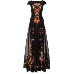 Temperley London Long Toledo Dress (23,025 MXN) ❤ liked on Polyvore featuring dresses, gowns, long dress, reign, vestidos, black mix, flower print dress, cap sleeve dress, black ball gown and black evening dresses