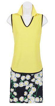 EP Pro Ladies and Plus Size Golf Outfits (Sleeveless Shirt & Skort) - Miramar (Lemon & Navy)