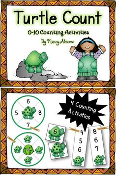 Counting Activities, Preschool Activities, Activity Centers, Math Centers, Pond Crafts, Turtle Crafts, Learning Stations, Pond Life, Matching Cards