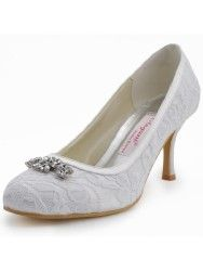 Round Toe Lace Rhinestones Pumps Bridal Wedding Shoes