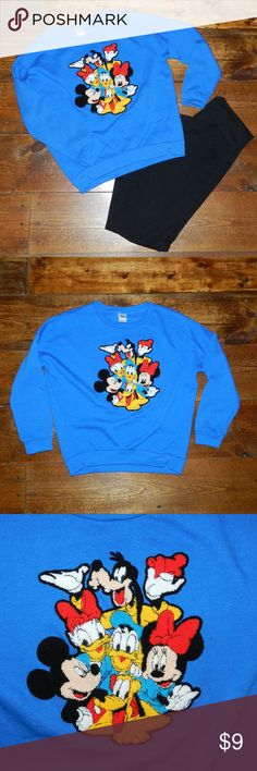 """Disney Vintage Inspired Mickey & Friends Shirt Take  trip back in time with this Disney sweatshirt featuring Mickey, Minnie, Donald, Daisy, Goofy, and Pluto! Very soft and comfortable - only worn once, like new condition.  Size XS. Bust: 21.5"""" laying flat (loose fit) Length: 22""""  **Be sure to check my other listings for the black yoga pants in the cover photo! Bundle and save $$  Ships same or next business day from smoke free home!! Disney Tops Sweatshirts & Hoodies"""
