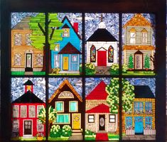 small town paintings | Small Town Glass Art