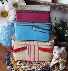3 Antique Stacking Lunch Boxes From Early 1900s Lunch Box Stack