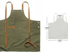 Premium Gift for woman and man Chef Works Handmade Apron Japanese Cross Back - Canvas leather Chest Apron Khaki color Easy Sewing Projects, Sewing Tutorials, Shop Apron, Leather Apron, Sewing Patterns Free, Canvas Leather, Leather Craft, Gifts For Women, Sewing Machines