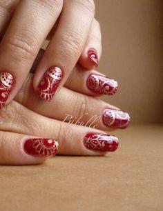 Stamping intégral - De l'or et du velours... - Bibulle Nail Art