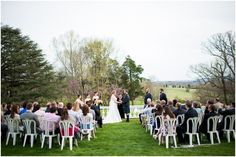 Oatlands Historic House & Gardens- Spring wedding ceremony on the front lawn; outdoor with mountain view. Stephanie Messick Photography.