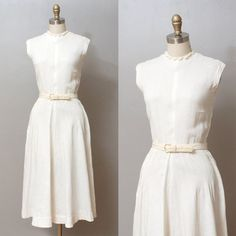 1940s Dress  White Full Skirt Dress with by OldFaithfulVintage, $50.00