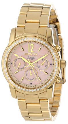 women's watches   Review product Stainless Steel GOLD Case and Bracelet Mother of Pearl Dial Day and Date Diamond Accents