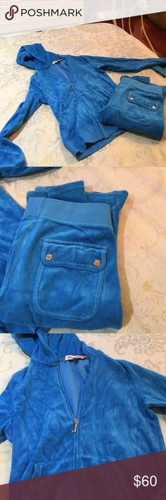Blue velour Juicy Tracksuit blue tracksuit with gold accents. The top is a small and the bottom is an Xs. Lightly used Juicy Couture Other