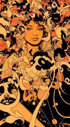 illustration by Vania Zouravliov Art And Illustration, Art Inspo, Kunst Inspo, Design Graphique, Art Graphique, Art Pop, Art Hippie, Art Magique, Ligne Claire