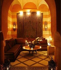 Beautiful warm colours of Moroccan style interior. www.asilahventures.com