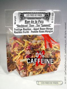 LES THES DE PARIS TEAS OF PARIS 2€39 LesThesDeParis 1051Store Rue de la Paix Rue de la Paix is a fruity Rooibos based on a mixture of flowers, fruit and Rooibos tea from South Africa.  Apple pieces, hibiscus flowers, lemongrass, rosehip shells (shells of rosebuds), grapes, mango pieces, rose petals and marigold flowers give this tea its all colors.  Rue de la Paix is composed of products from organic agriculture in their countries of origin. Rue de la Paix has a pomegranate and mango flavor…