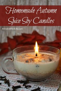 Easily and inexpensively make your own Homemade Autumn Spice Soy Candles! These are great for gifts or to scent your own home during the fall and holiday season. These Homemade Autumn Spice Soy Candles are a fun DIY project that yields great results! Unique Candles, Fall Candles, Christmas Candles, Luxury Candles, Decorative Candles, Natural Candles, Christmas Ideas, Homemade Scented Candles, Homemade Gifts