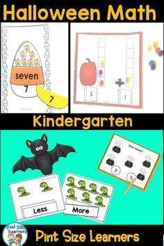 Keep your kindergarten students learning and practicing math skills during the the month of October!  Counting, measuring, determining more or less are some of the skills in this unit.  #halloween #math