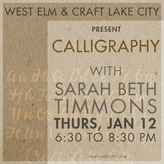 Craft Lake City and West Elm to Host Calligraphy Workshop This Winter