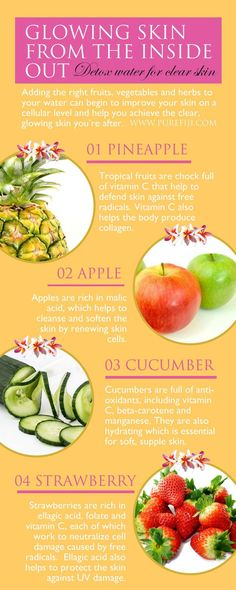 Detox drinks helps to remove impurities from your body, that in turn, help to encourage clear, glowing skin. Get your DIY beauty recipes and natural skin care tips at http://www.purefiji.com/blog/drink-clear-glowing-skin/ | Beauty on A Budget