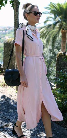 blush pink shirtdress, black and white silk neck scarf, black suede block heel sandals, black crossbody bag, sunglasses + top knot hairstyle {l' academie, kate spade new york, steve madden}
