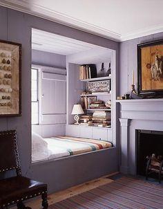 Purple / violet / lavender bedroom. built in book shelves. fireplace. cute!!!