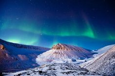 Aurora Borealis over Longyearbyen, Norway