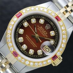 Ladies Rolex Two Tone 18K Gold/SS Brown Vignette Diamond Dial DateJust Watch!!