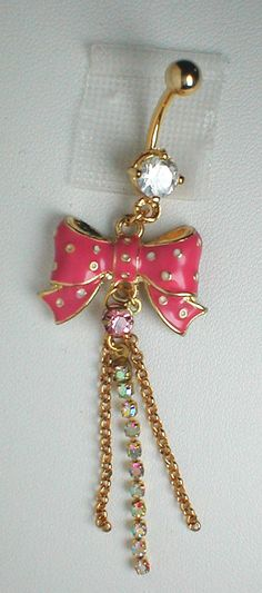 Unique Belly Ring  Bow with Chains and Crystal AB by pondgazer2004,