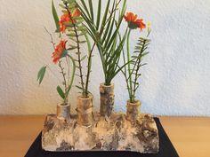 Birkenstamm als Blumenvase
