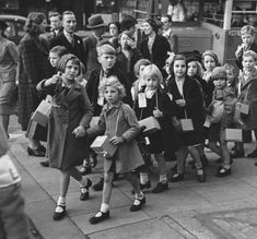 Children being evacuated into the countryside.  World War 2