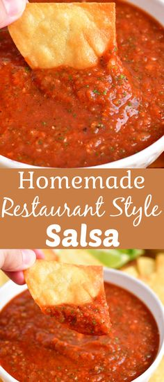 This easy homemade Salsa Recipe is rich with flavor! A few key ingredients like fire roasted tomatoes, seasoning, fresh cilantro, and lime juice blend together to make an incredibly mouthwatering restaurant style salsa. Serve it with warm homemade tortilla chips for a real treat! Easy Homemade Salsa, Homemade Tortilla Chips, Restaurant Style Salsa, Fire Roasted Tomatoes, Salsa Recipe, Key Ingredient, Tex Mex, Cilantro, Food To Make