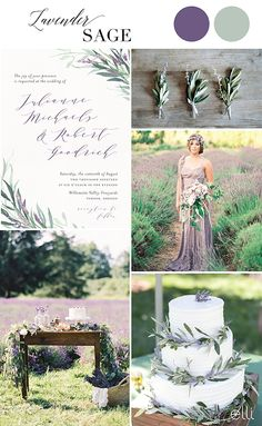 Lavender sage wedding inspiration and invitation Lavender Wedding Theme, Sage Wedding, Purple Wedding, Wedding Flowers, Dream Wedding, Lavender Weddings, Floral Wedding Cakes, Floral Wedding Invitations, Wedding Color Schemes