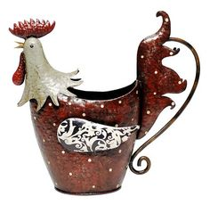 metal rooster watering can