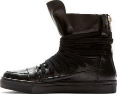 Krisvanassche Black Leather High Top Sneakers