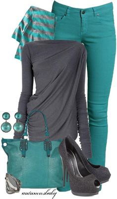 Grey and teal...don't care for the jeans....or the heels, but I love the draped top and the totebag!