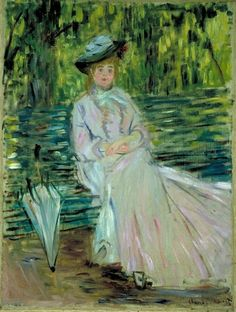 Claude Monet, Woman Seated on a Bench, 1874 ~ LUV MONET PORTRAITS ~