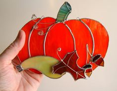 Halloween Stained Glass Pumpkin Suncatcher Fall Autumn. $39.00, via Etsy.