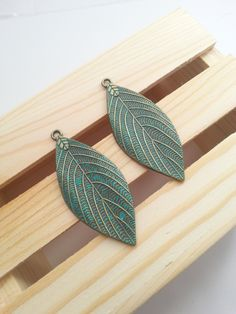 Large Bronze Brass Patina Leaf Pendants Turquoise Teal Patina Color Set of Two Unique Trendy Jewelry Supplies DIY Supply