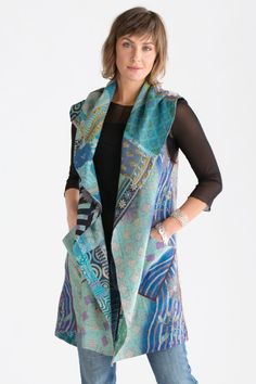 """""""Kantha Patchwork Vest"""" Cotton Vest Created by Mieko Mintz _ This fully reversible vest is a perfect third piece, taking the simplest outfit to """"wow"""" in an instant. Sewn in New York from vintage saris pieced in India using traditional kantha quilting techniques."""