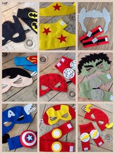 Super Heroes Kit - Masks and Bracelets A great choice for souvenirs. The boys love it and the moms too, because the felt masks are super comfortable! Sewing For Kids, Diy For Kids, Crafts For Kids, Avengers Birthday, Superhero Birthday Party, Felt Crafts, Diy And Crafts, Felt Mask, Kids Dress Up