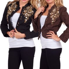 Long Sleeve Blazer Style High Collar Cropped Button Up Embroidered Floral Jacket #HotFromHollywood #JeanJacket