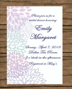 Printable Bridal Shower Invitation Soft Lavender by PinkChampagnePaper, $15.00