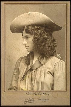 Annie Oakley~She was an Ohio-born lady who could shoot like the dickens. She was the first white woman hired by a Wild West outfit to fill a traditionally male role. She was, hands down, the finest woman sharpshooting entertainer of all time. And, at one time, she may have been the most famous woman in the American West or the American East. She was, of course, Annie Oakley — her name nearly as well recognized to this day as that of the bigger-than-life figure who hired her, Buffalo Bill.