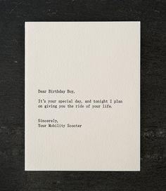 dear birthday boy. letterpress card by shopsaplingpress on Etsy