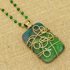 Green agate wire wrap