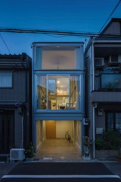 Designed by the Japanese architecture studio YYAA, this small narrow house can be found in a dense residential street in Osaka. The house was created for Narrow House Designs, Small House Design, Modern House Design, Japanese Architecture, Architecture Design, Future House, My House, Compact House, Box Houses