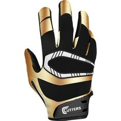 Cutters S450 Youth Limited Edition Rev Pro Receiver Gloves - Black/Metallic Gold