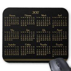 Art Deco Black Gold Yearly Calendar 2017 Mousepad