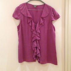 Silk top Used silk top. Hidden buttons. Dry clean only. Ann Taylor Tops Blouses