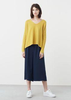 Укороченные брюки палаццо | MANGO МАНГО